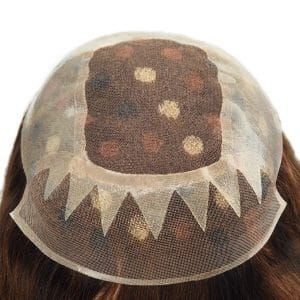 Women's toupee clear PU with lace window and mono lace front