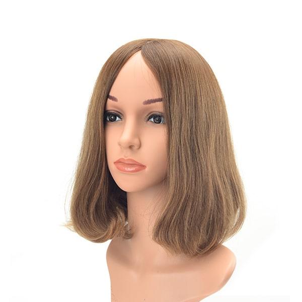 Medium length no layer brown European hair Jewish wig