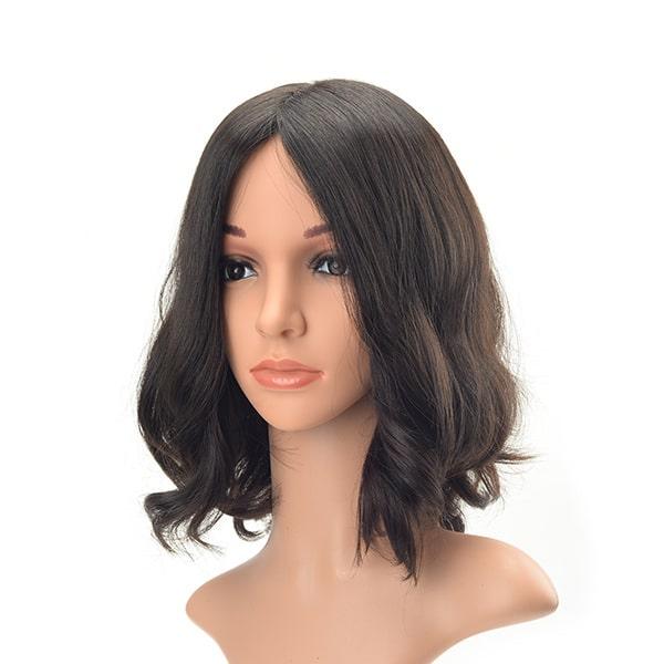 Short layer wavy European hair Jewish wig