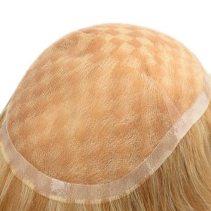 Women's toupee French lace with PU around and highlight color