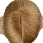 Blond Hair Silk Top With Machine Wefts Back Human Hair Toupee For Women