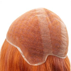 Red color full French lace no surgical hair wig system