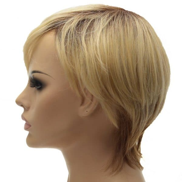 Blonde and Brown Tapered Neckline Pixie Cut Ladies Synthetic Wiglet