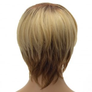 Blonde and Brown Tapered Neckline Pixie Cut Ladies Synthetic Wiglet (3)