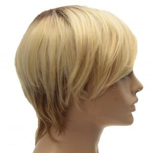 Blonde and Brown Tapered Neckline Pixie Cut Ladies Synthetic Wiglet (4)