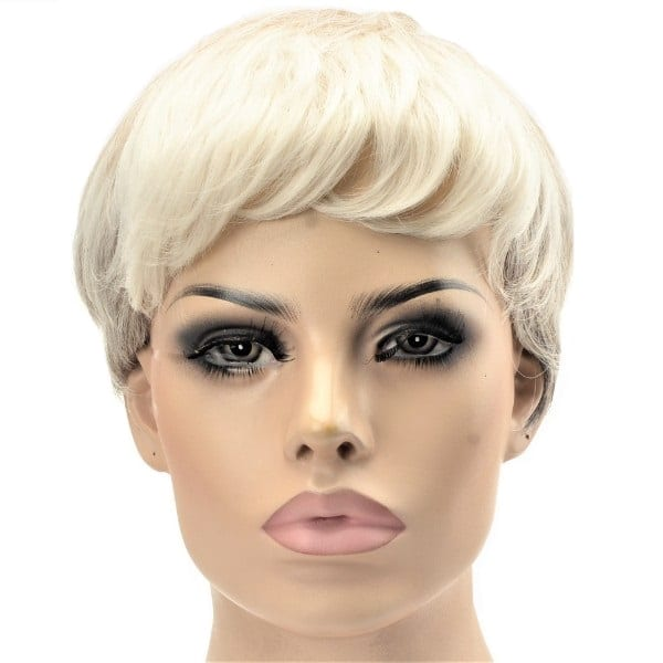 Two toned blonde grey women's synthetic short wig
