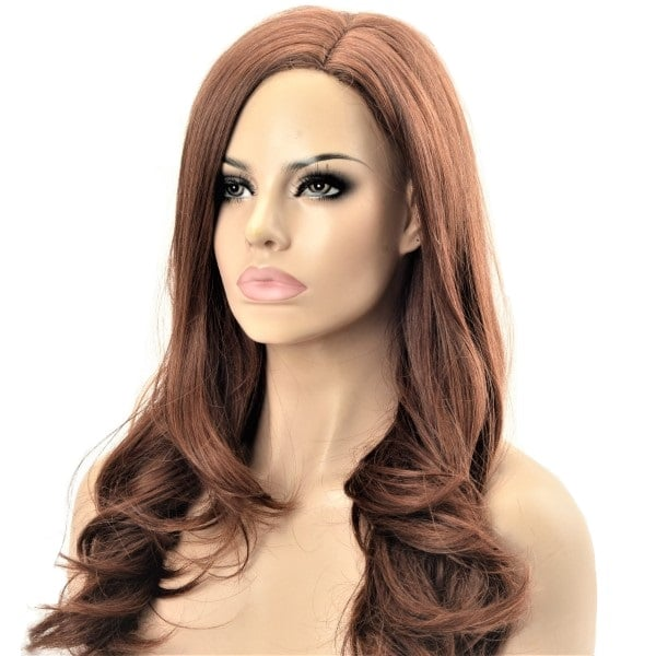 loose long waves toffee toned synthetic wig