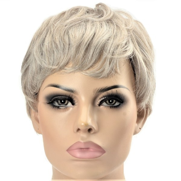 grey and ash blonde two tones synthetic ladies wig