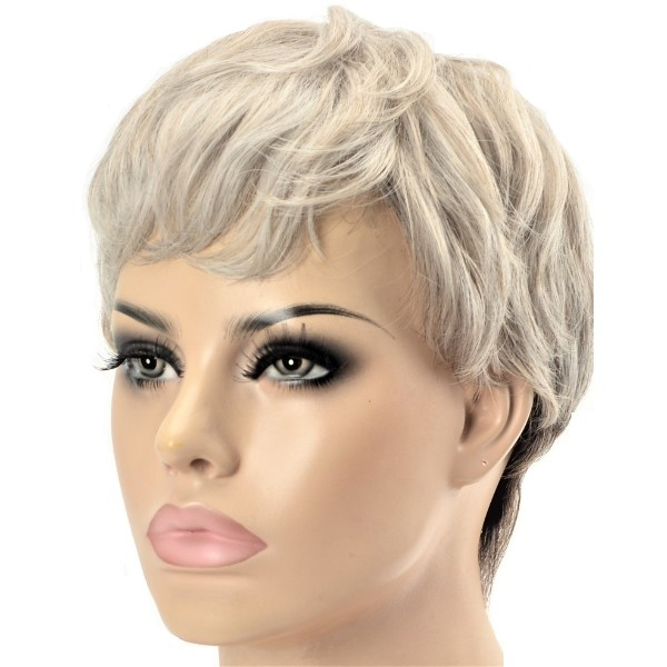ash blonde and grey two tone synthetic ladies wig