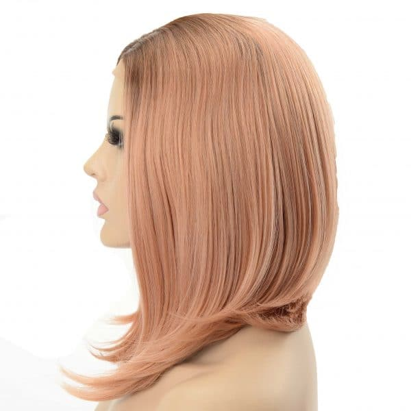 Pastel Rose Gold Shoulder Length A-Line Cut Ladies Synthetic Wig