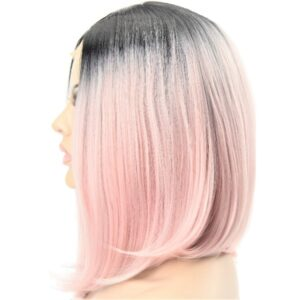 Medium Silky Straight Pastel Pink Ombre Synthetic Ladies Wig