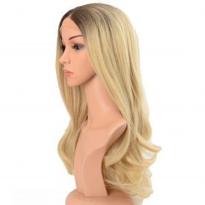 Glamorous Long Blonde Loose Curls with Dark Roots Ladies Synthetic Wig