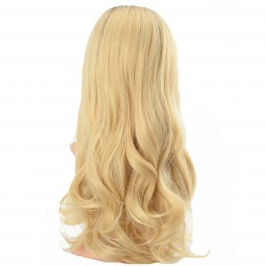 Glamorous Long Blonde Loose Curls with Dark Roots Ladies Synthetic Wig (3)