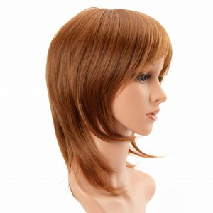 Ladies Golden Brown Synthetic Machine Weft Wig with Bangs