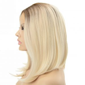 Ladies Stylish Shoulder Length Blonde A-Line Synthetic Wig