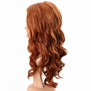 Long Golden Red Hair with Loose Curls Women's Synthetic Wiglet