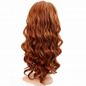 Long Golden Red Hair with Loose Curls Women's Synthetic Wiglet (3)