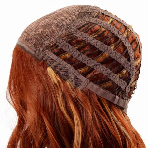 Long Golden Red Hair with Loose Curls Women's Synthetic Wiglet (4)