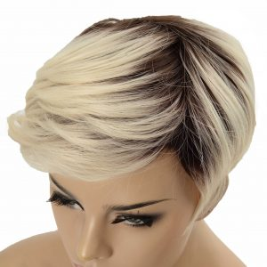 Short Platinum Blonde Pixie Cut Women's Synthetic Wig (4)