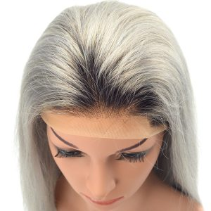 Ladies High Quality Lace Front Grey Human Hair LW2-S Wig