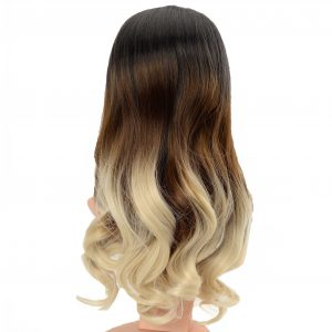 Trendy Dark to Blonde Ombre Loose Curls Ladies Synthetic Wiglet (3)