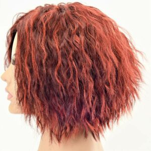 Short and Kinky Warm Red Layered Inverse Bob Synthetic Women's Wig
