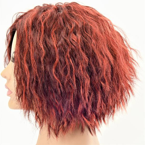 Short And Kinky Warm Red Layered Inverse Bob Synthetic Womens Wig
