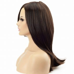Women's Dark Hair with Golden Highlights Synthetic Wiglet