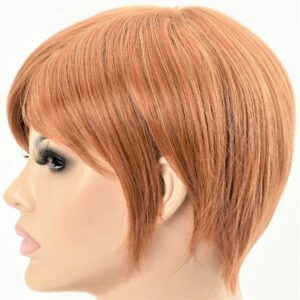 Silky Straight Short Warm Copper Machine Weft Women's Synthetic Wig