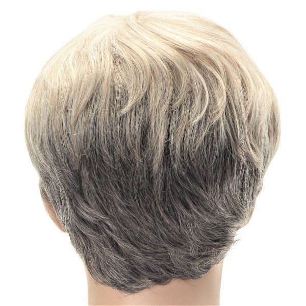 Two tone blonde grey pixie crop ladies wig