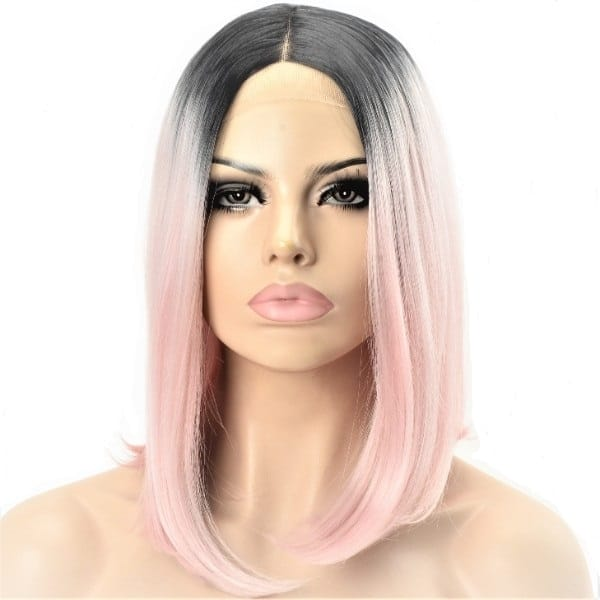 synthetic ladies pink ombre wig
