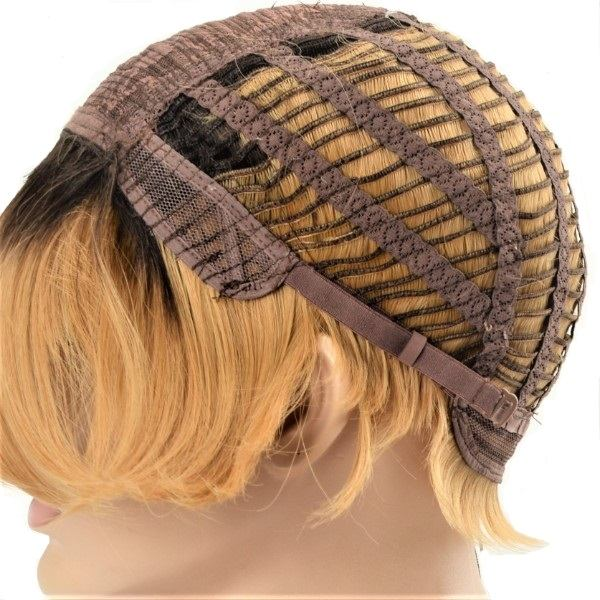 honey blonde short bob straight synthetic wig