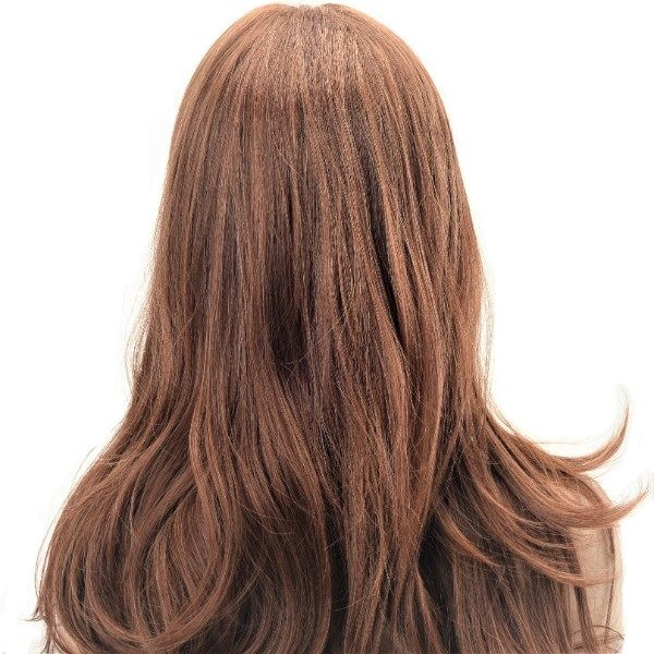 toffee brown long loose waves synthetic women's wig
