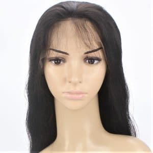 custom ladies elasticated net and lace front full real human hair wig