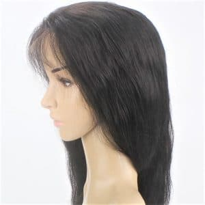 custom ladies elasticated net and lace front full real human hair wig_1