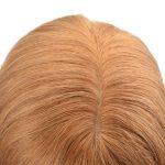 Custom Ladies PU and Lace Base Real Human Hair Silk Top Wig