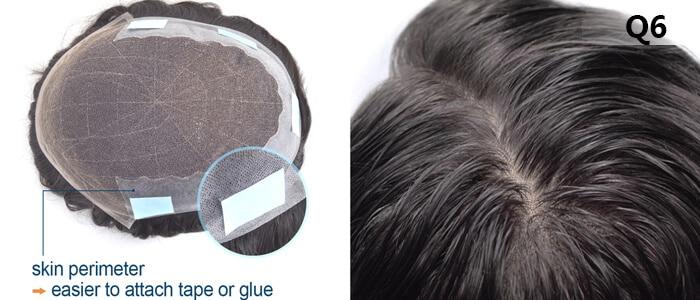 Q6 Med Light Density French Lace Men's Toupee
